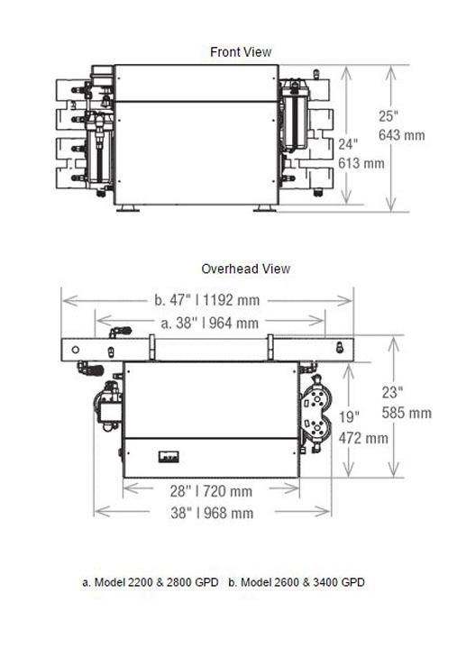 aqua matic xl watermaker dimensions